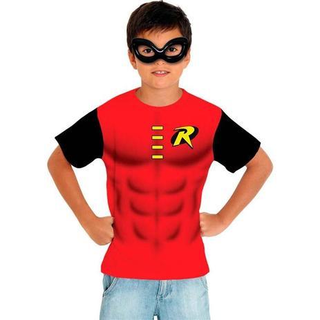 87cf43a058 Fantasia Kit Robin Infantil Camiseta e Máscara Sulamericana ...
