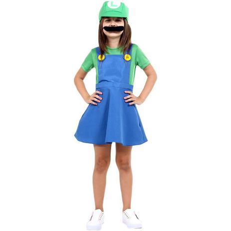 Imagem de Fantasia Luigi Infantil Menina Com Chapéu e Bigode