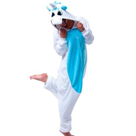 75427978 Fantasia Macacão de Unicórnio Kigurumi Adulto Branco e Azul Com Gorro -  Fantasias carol na