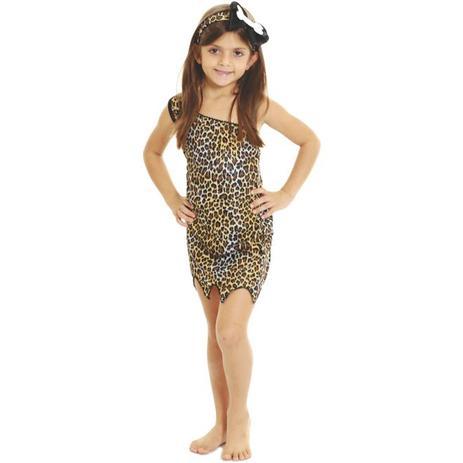 8ea6e1c5cfd9a9 Fantasia Menina das Cavernas Infantil Com Faixa - Fantasias carol fsp