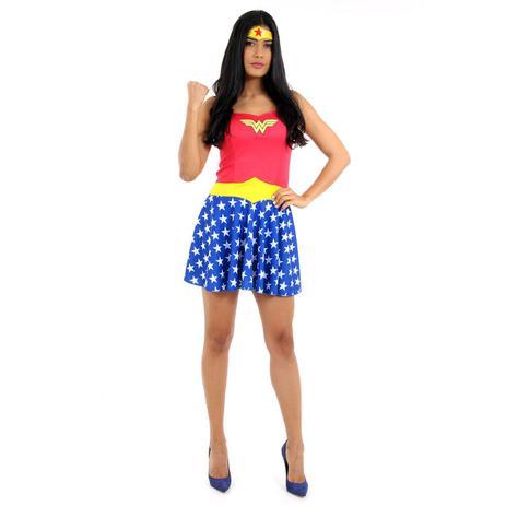 bf5431f50b6ad8 Fantasia Mulher Maravilha Verão Adulto - Liga da Justiça