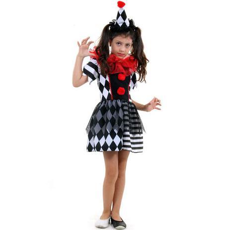 Imagem de Fantasia Palhaça do Mal Infantil Halloween Com Chapéu