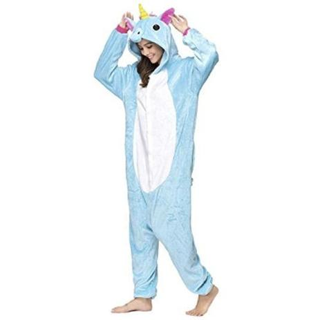 e5c3cba3 Fantasia Pijama De Unicórnio Azul Plush Macio Com Capuz - Fantasia de  unicórnio
