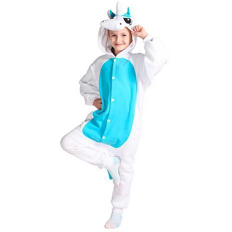 9c7e784f1781f5 Fantasia Pijama Macacão de Unicórnio Kigurumi Infantil Branco e Azul Com  Capuz - Fantasias carol na