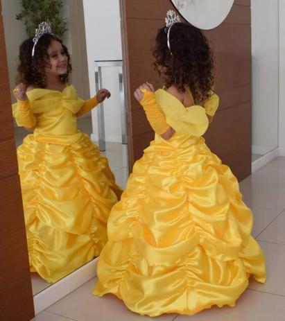 Imagem de Fantasia princesa bela luxo com luva e tiara de eva