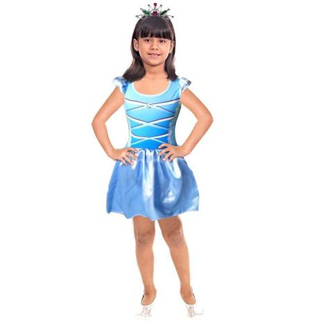 Imagem de Fantasia Princesa Infantil Azul Com Coroa