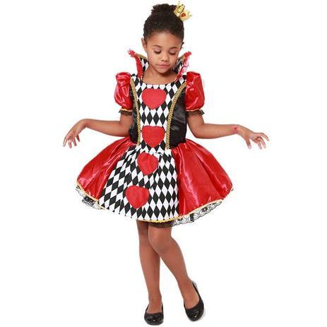 658a3cc71f Fantasia Rainha de Copas Alice Com Coroa Halloween Infantil - Fantasias  carol kb