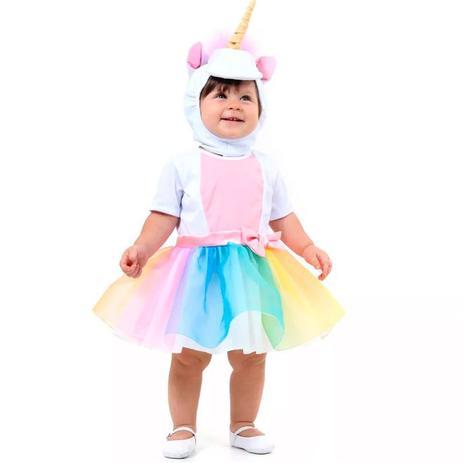 Fantasia Unicornio Bebe Vestido E Gorro Com Chifre 1 Ano Sulamericana Fantasias Para Bebes Magazine Luiza