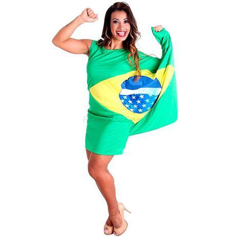 c27f7a4c1ffe Fantasia Vestido Bandeira do Brasil Adulto Sulamericana