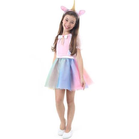 Fantasia Vestido De Unicórnio Infantil Feminino Tiara Com Orelha E