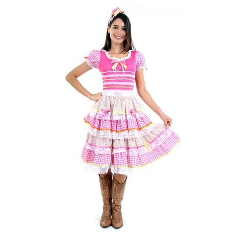 Imagem de Fantasia Vestido Junina Flores Adulto - Festa Junina