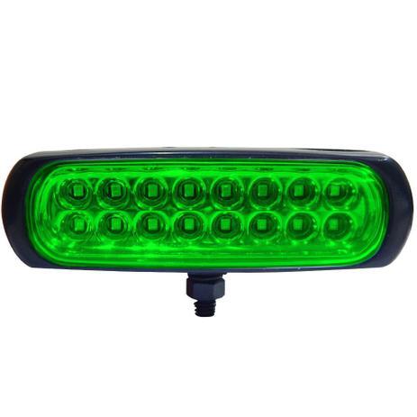 Imagem de Farol Auxiliar avulso LED Verde Autopoli Retangular Capa preta 12V / 24V