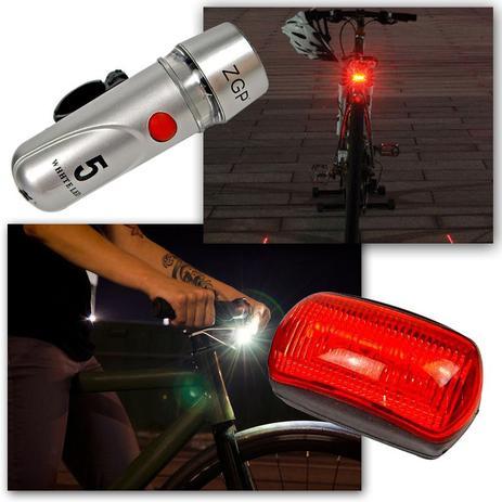Imagem de Farol Bicicleta Bike Sinalizador 5 Leds Lanterna Traseira Pisca Luz Dianteria