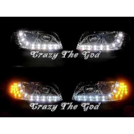 Farol Daylight Led Volkswagen Polo 1996 a 2002 e Seat Ibiza 1995 a 1999  Máscara Negra - Junyan