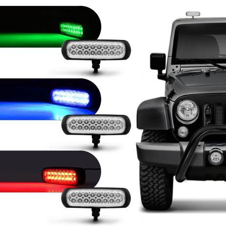 Imagem de Farol de Milha Auxiliar Retangular 3 em 1 LED Slim Universal 16 LEDs 12V 24V 3,2W Todas as Cores