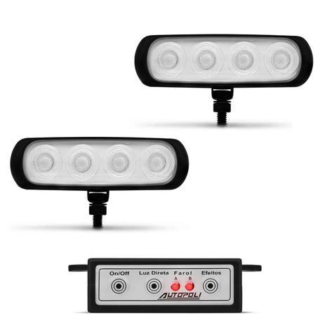 Imagem de Farol de Milha Auxiliar Retangular 3 em 1 LED Slim Universal 4 LEDs 12V 4W Todas as Cores Autopoli