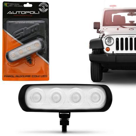Imagem de Farol de Milha Auxiliar Retangular LED New Slim Universal 4 LEDs 12V 24V 4W Vermelho Autopoli