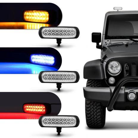 Imagem de Farol de Milha Auxiliar Retangular LED Slim Universal 16 LEDs 12V 24V 3,2W Todas as Cores Autopoli