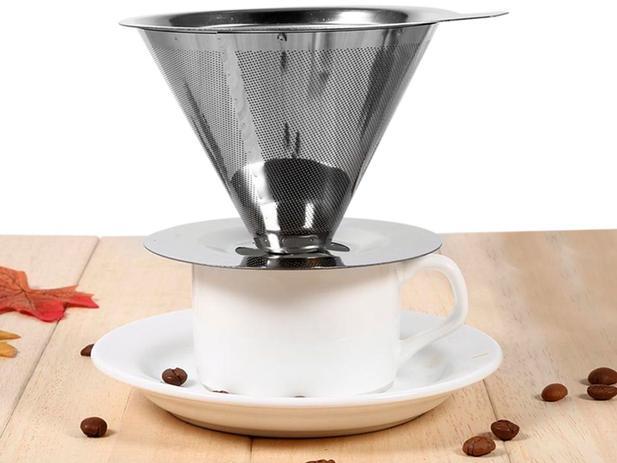 Imagem de Filtro Coador de Café em Inox Reutilizável Ecológico Em Aço Inox Tamanho Pequeno - 123 Ùtil