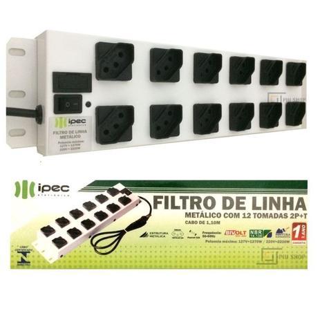 Imagem de Filtro de Linha 12 Tomadas Metalico Bivolt Branco A2266 - Ipec