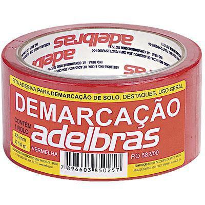 Imagem de Fita Adesiva Demarcação de Solo Vermelha 48x14 Metros Adelbras
