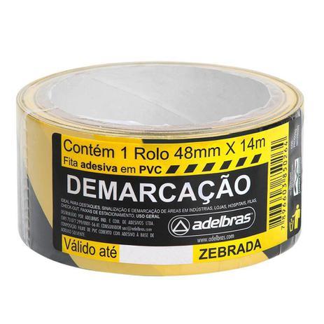 Imagem de Fita Adesiva Demarcação Solo 48mmx14m Zebrada Adelbras