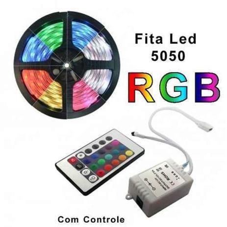 Imagem de Fita De Led Rgb 5050 5 Metros Para Decoração Com Central e Controle