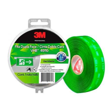 Imagem de Fita Dupla Face 3m Fixa Forte VHB 4910 Transparente / Verde 12mm x 5m SM