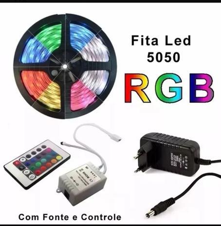 Imagem de Fita Led RGB  5050 16 Cores IP65 72w com Controle ,fonte 5Mts Prova D'Água Dupla Face 300 LEDs