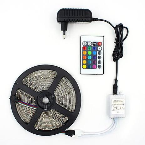 Imagem de Fita LED RGB 5050 Rolo 5M com Fonte 12V 3A e Controle Remoto