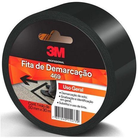 Imagem de Fita para Demarcaçao de Solo Preta 50MM X 30M 469 3M