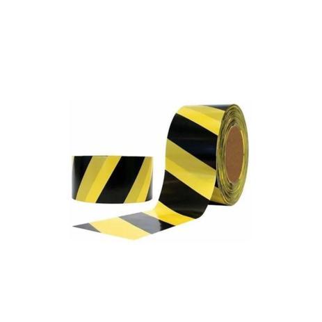 Imagem de Fita zebrada sinalização amarela preta plastcor 200 metros