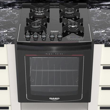 Imagem de Fogão de Embutir 4 Bocas Turbo Glass Mesa de Vidro Dako