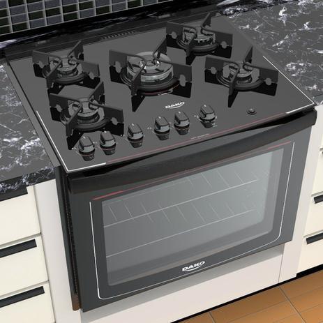 Imagem de Fogão de Embutir 5 Bocas Dako Glass DE5VUP com Mesa de Vidro