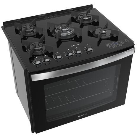 Imagem de Fogão de embutir Atlas 5 bocas preto mesa de vidro - Top Gourmet Glass
