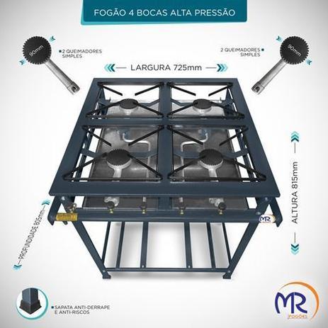 Imagem de Fogão industrial 4 bocas sem forno alta pressão