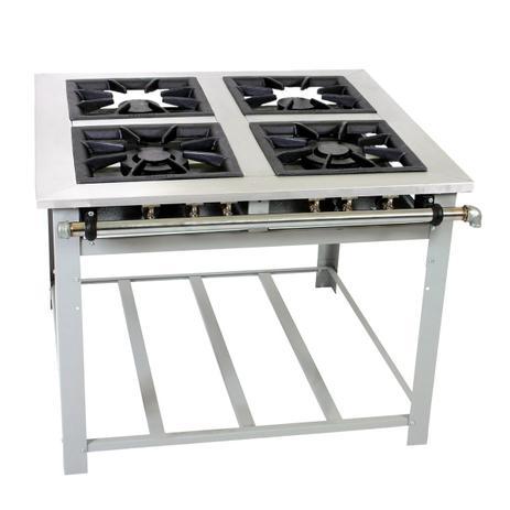 Imagem de Fogão Industrial Maxi Inox 4 Bocas 40x40 Panela Grande Perfil 10cm Baixa Pressão MI4 - Venâncio