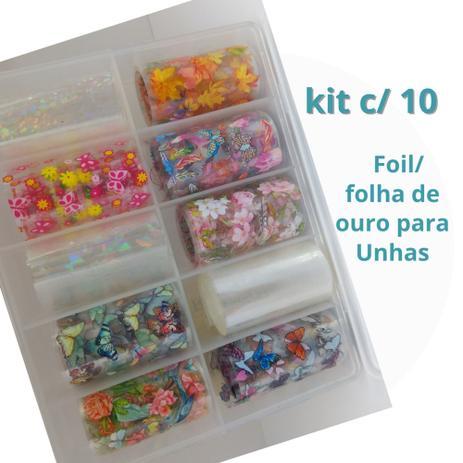Imagem de Foil Decoraçao Unha Gel Fibra Porcelana e Unha Natural - Kit Foil 10un - Diversas