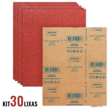 Imagem de Folha de Lixa Massa e Madeira Grana 180 Kit com 30 Unidades NORTON