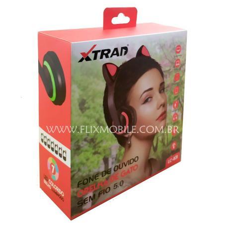 Imagem de Fone de Gatinho com 7 Cores de LED Sem fio com Microfone Headset Orelha de Gato Rosa