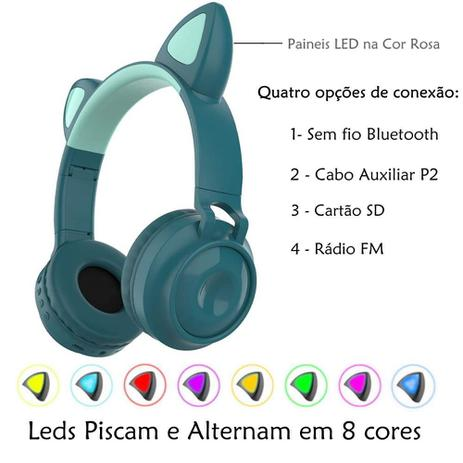 Imagem de Fone de Gatinho LED 8 Cores Sem fio com Microfone Headset Orelha de Gato