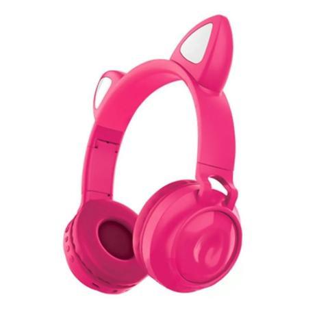 Imagem de Fone de Gatinho LED 8 Cores Sem fio com Microfone Headset Orelha de Gato Pink