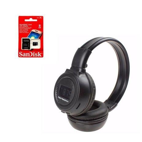 Imagem de Fone de Ouvido Bluetooth com Visor SD CARD P2 FM N65 Preto + Cartão de Memória 8GB