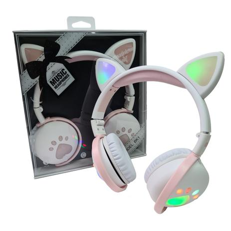 Imagem de Fone De Ouvido Bluetooth Led Orelha Gato Infantil Headphone Branco