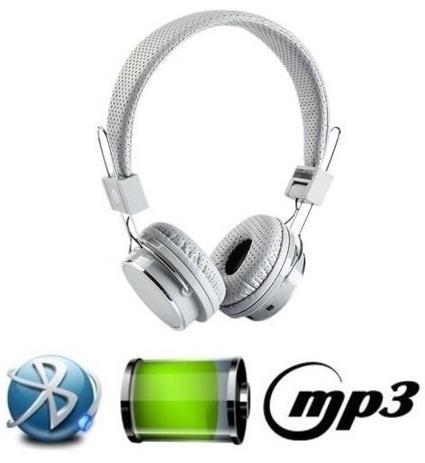 Imagem de Fone De Ouvido Bluetooth Micro Sd Mp3 Rádio Fm Player - Branco