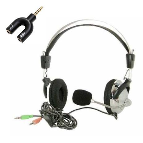 Imagem de Fone de ouvido com microfone headset duplo P2  Computador e Adaptador P2