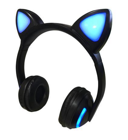 Imagem de Fone de Ouvido Headphone Bluetooth Orelha de Gato LED Preto