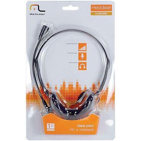 Imagem de Fone de Ouvido Multilaser PH002 com Microfone Headset Estereo com Fio P2 Preto