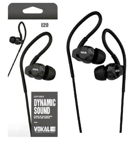 Imagem de Fone de Ouvido Vokal In Ear E20 Black Plug Stereo Controle de Volume e Compatível com Smartphones