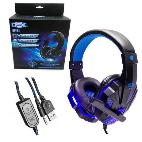 Imagem de Fone Ouvido Gamer DF-81 USB P3 Microfone Pc Note